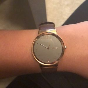 Rose gold and leather Skagen watch